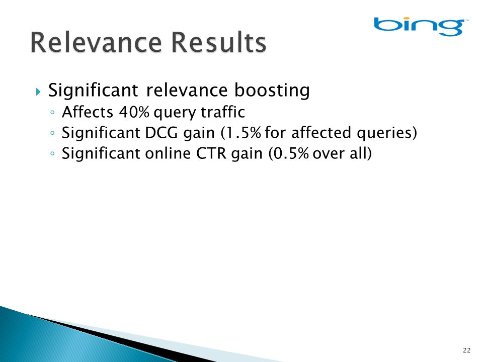  Significant relevance boosting ◦ Affects 40% query traffic ◦ Significant DCG gain (1.5% for affected queries) ◦ Significant online CTR gain (0.5% over all) 22