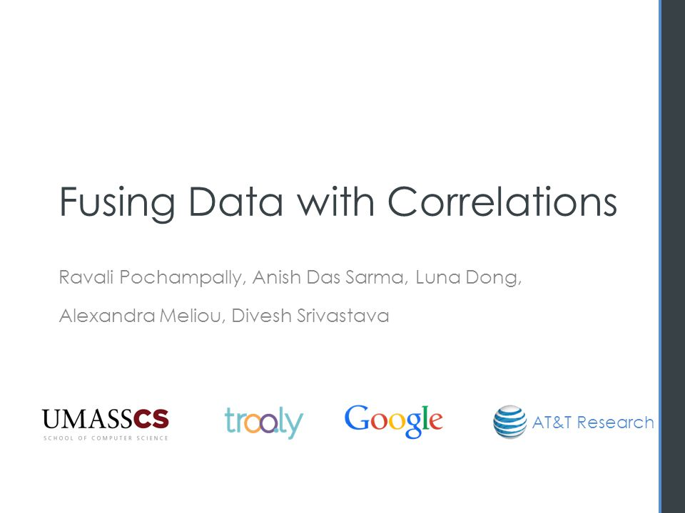 Correlation in web extraction Significant negative correlation 11 [Dong et al.