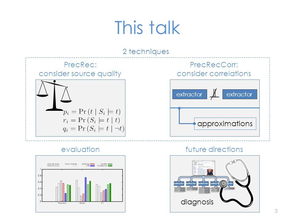This talk evaluationfuture directions extractor diagnosis 3 PrecRecCorr: consider correlations extractor approximations PrecRec: consider source quali