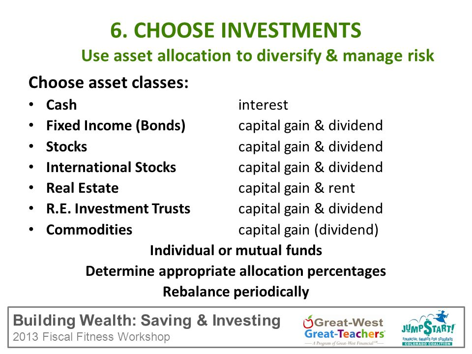 Building Wealth: Saving & Investing 2013 Fiscal Fitness Workshop 6.