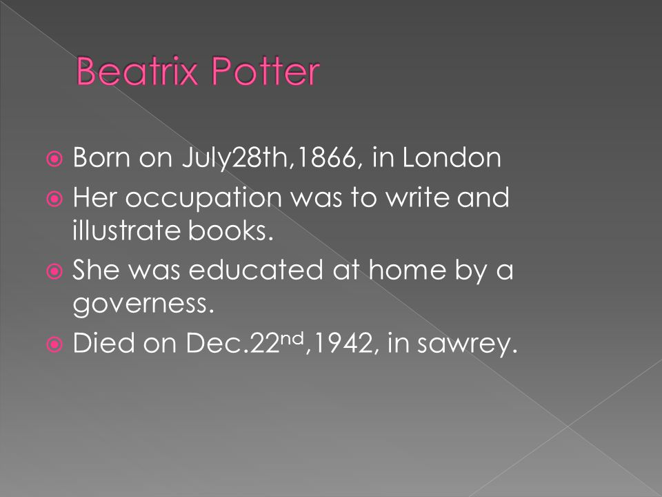  Born on July28th,1866, in London  Her occupation was to write and illustrate books.