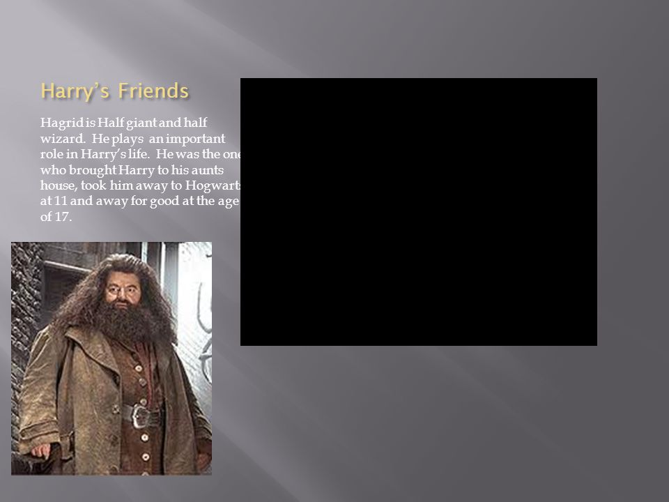 Harry's Friends Hagrid is Half giant and half wizard.