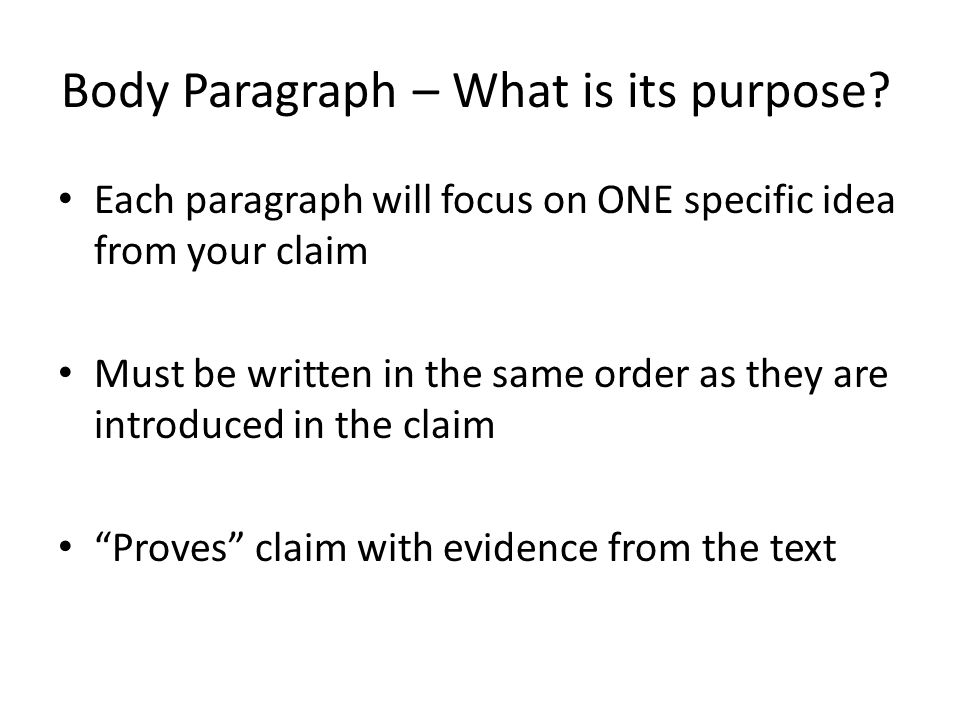 Body Paragraph – What is its purpose? Each paragraph will focus on ONE specific idea from your claim Must be written in the same order as they are int
