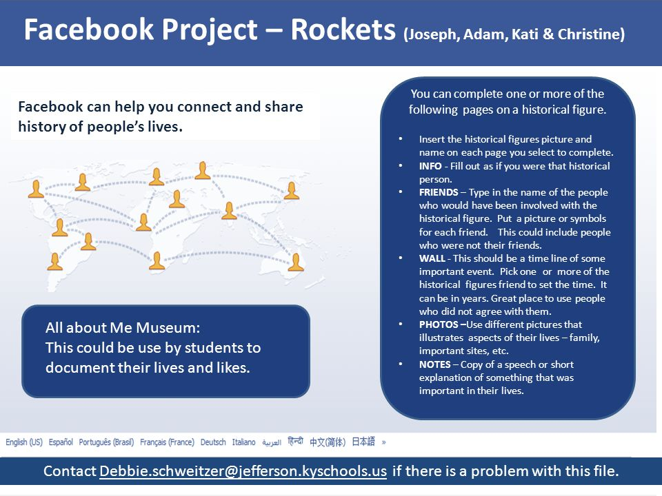 Facebook Project – Rockets (Joseph, Adam, Kati & Christine) Facebook can help you connect and share history of people's lives. You can complete one or
