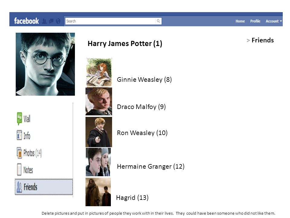 Harry James Potter (1) > Friends Ginnie Weasley (8) Draco Malfoy (9) Ron Weasley (10) Hermaine Granger (12) Hagrid (13) Delete pictures and put in pic