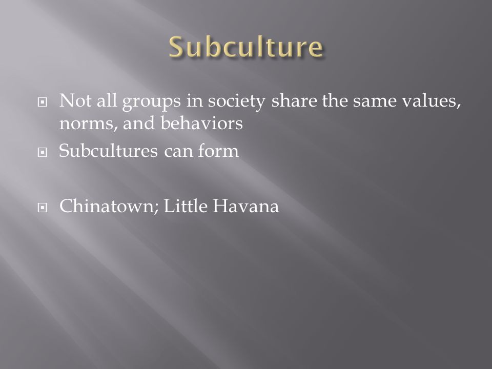  Not all groups in society share the same values, norms, and behaviors  Subcultures can form  Chinatown; Little Havana