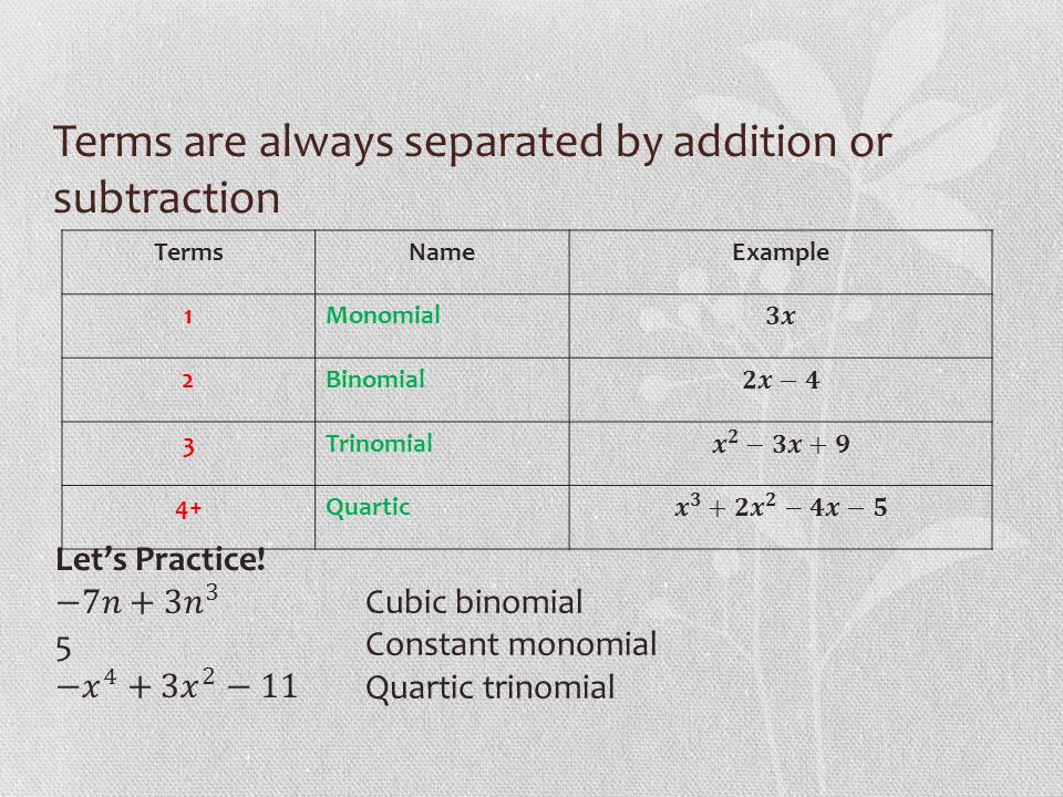 Terms are always separated by addition or subtraction TermsNameExample 1Monomial 2Binomial 3Trinomial 4+Quartic Cubic binomial Constant monomial Quartic trinomial