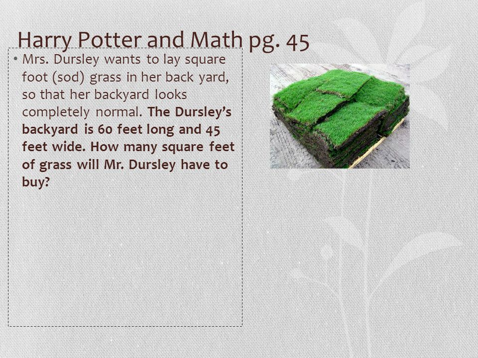 Harry Potter and Math pg. 45 Mrs.