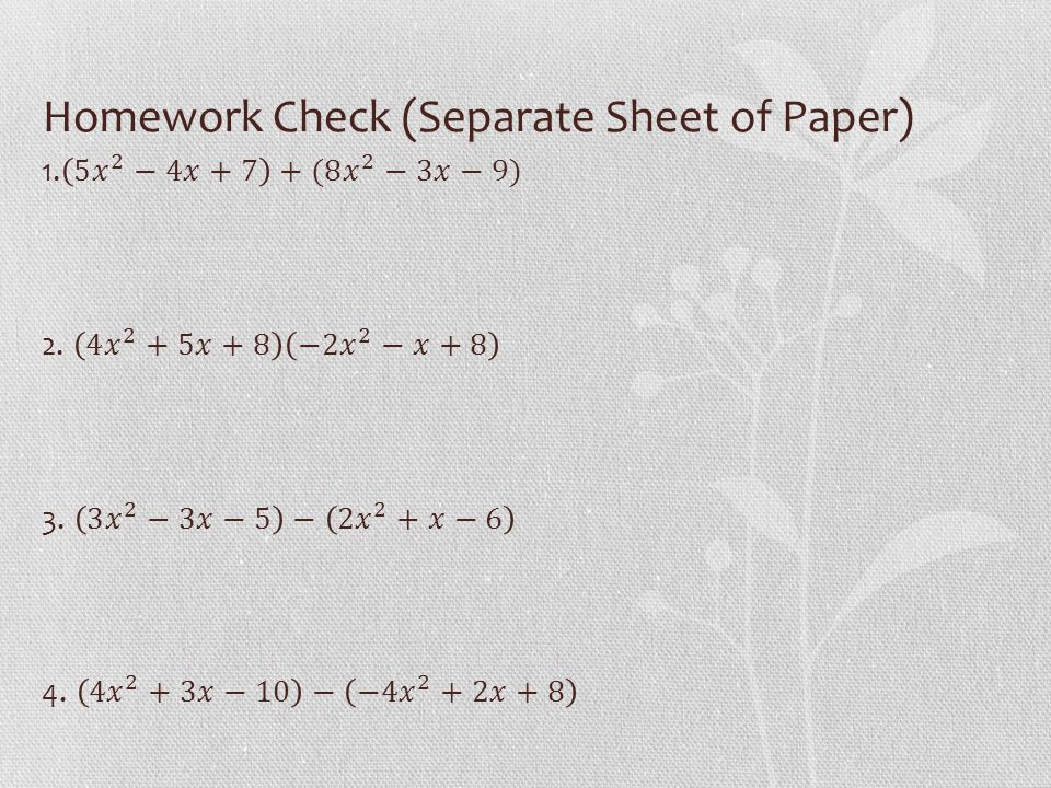 Homework Check (Separate Sheet of Paper)