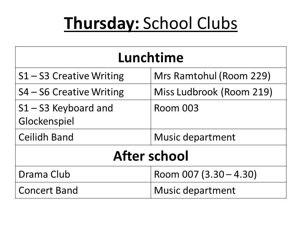 Thursday: School Clubs Lunchtime S1 – S3 Creative WritingMrs Ramtohul (Room 229) S4 – S6 Creative WritingMiss Ludbrook (Room 219) S1 – S3 Keyboard and