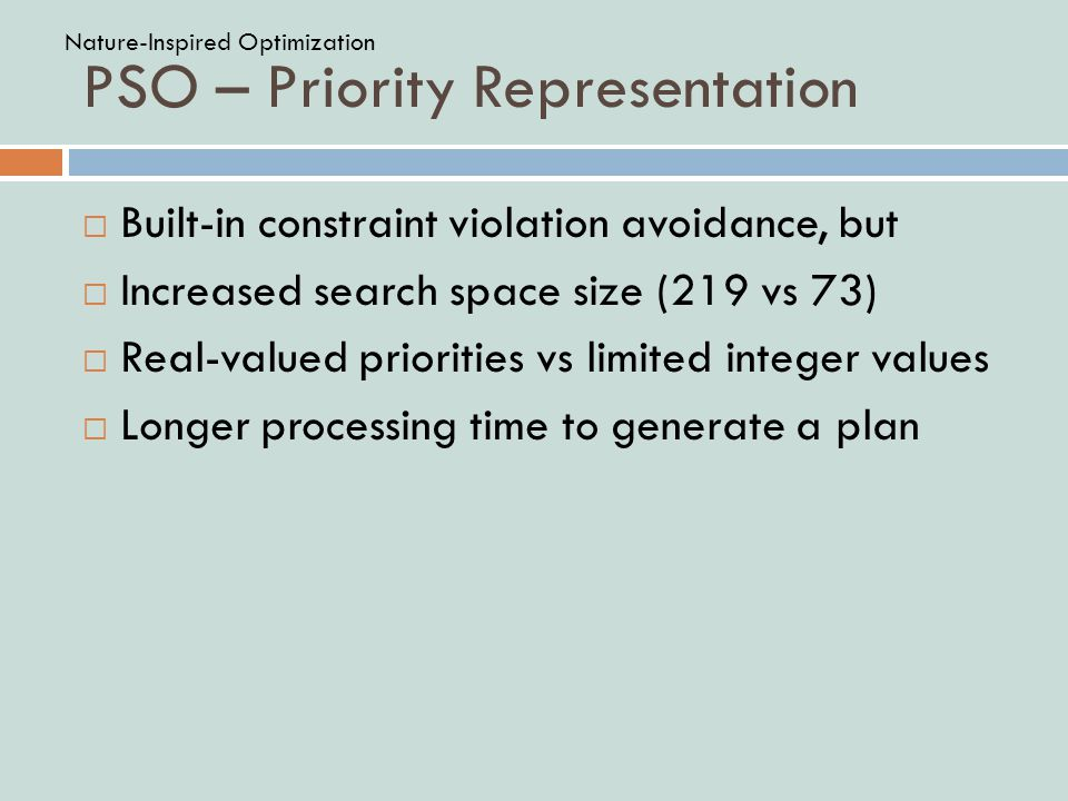 PSO – Priority Representation  Built-in constraint violation avoidance, but  Increased search space size (219 vs 73)  Real-valued priorities vs limited integer values  Longer processing time to generate a plan Nature-Inspired Optimization