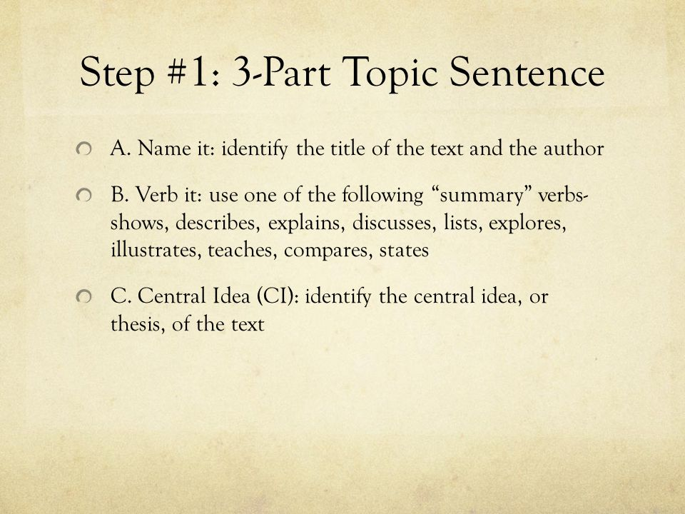 Step #1: 3-Part Topic Sentence A.Name it: identify the title of the text and the author B.
