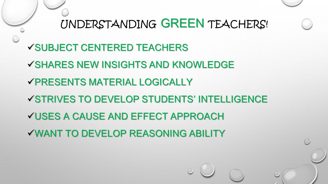 GREEN UNDERSTANDING GREEN TEACHERS.