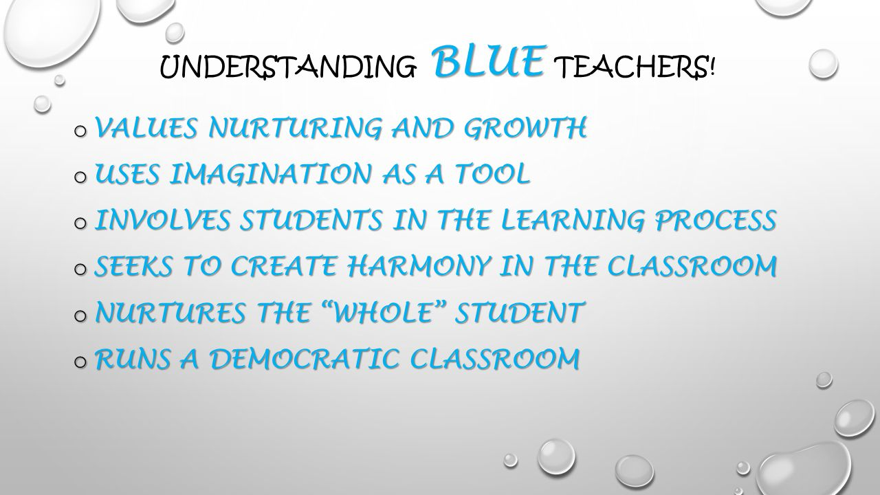 BLUE UNDERSTANDING BLUE TEACHERS.