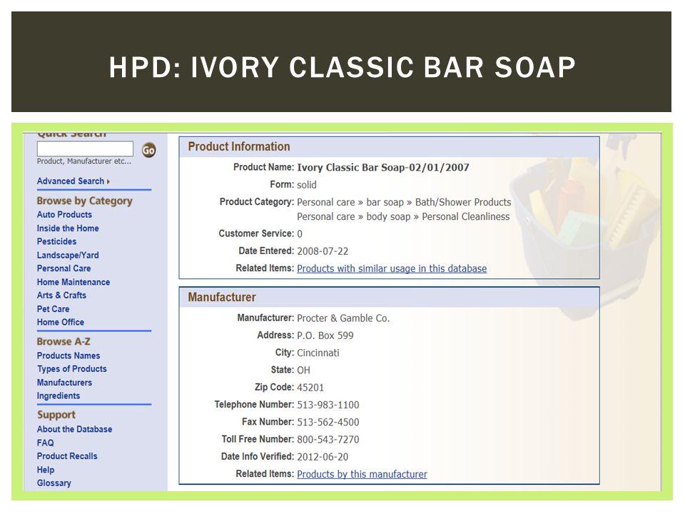 HPD: IVORY CLASSIC BAR SOAP