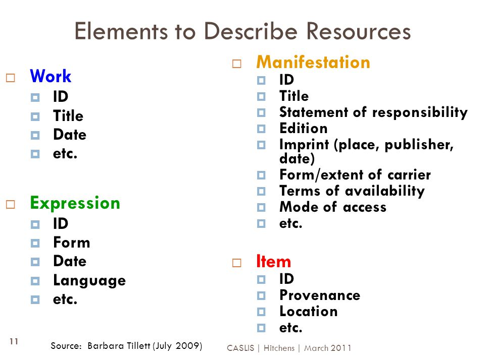 Elements to Describe Resources  Work  ID  Title  Date  etc.