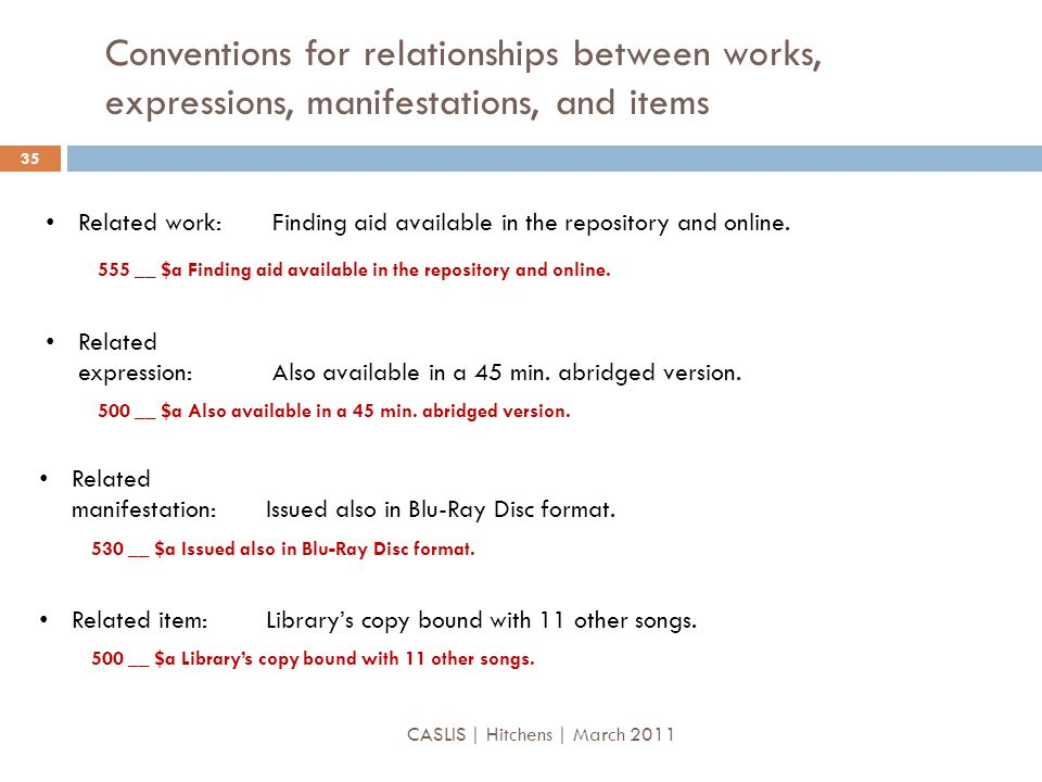 Conventions for relationships between works, expressions, manifestations, and items Related work: Finding aid available in the repository and online.