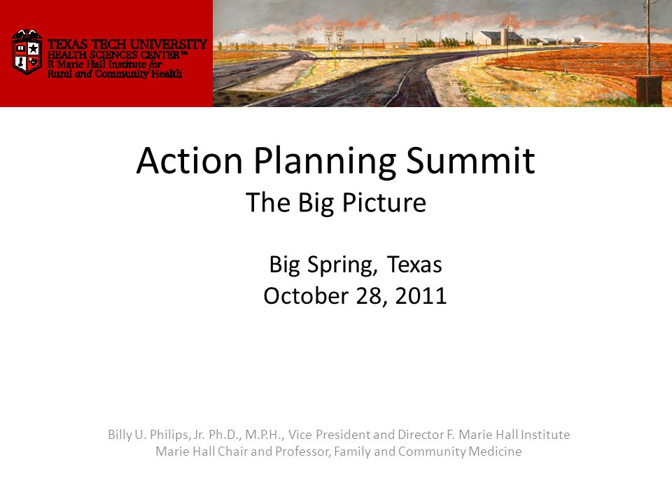 Action Planning Summit The Big Picture Billy U. Philips, Jr.