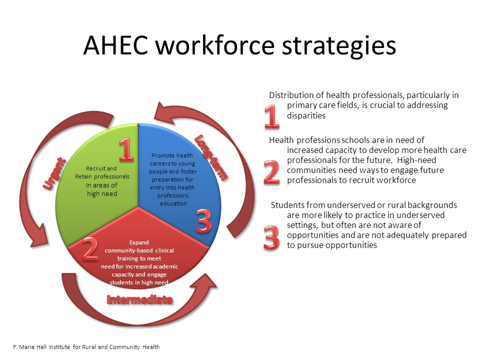 AHEC workforce strategies Distribution of health professionals, particularly in primary care fields, is crucial to addressing disparities Health professions schools are in need of increased capacity to develop more health care professionals for the future.