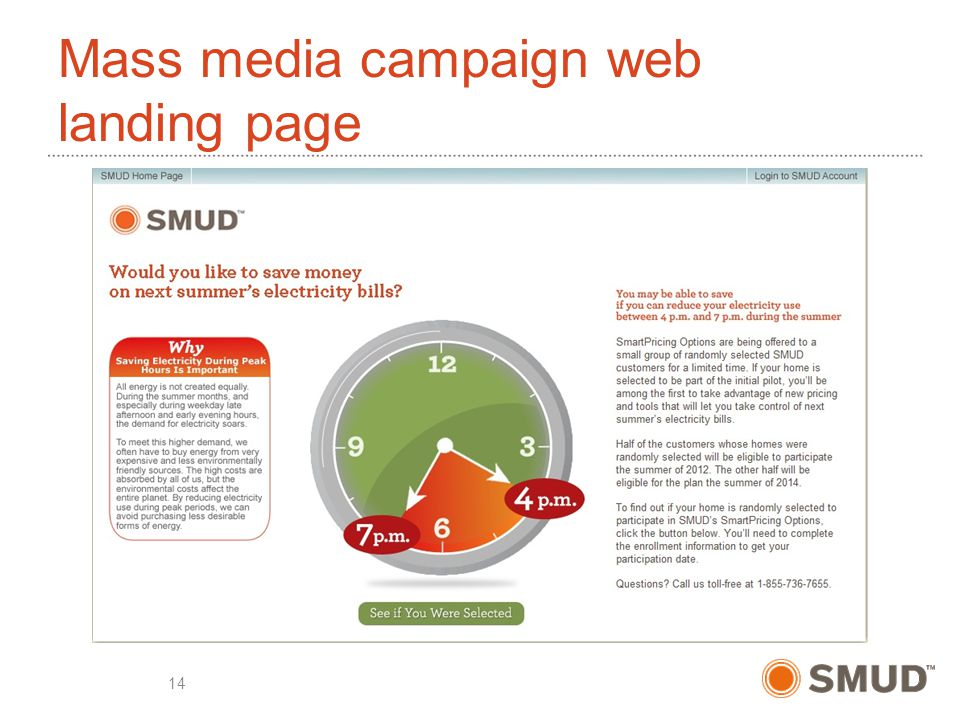 Mass media campaign web landing page 14
