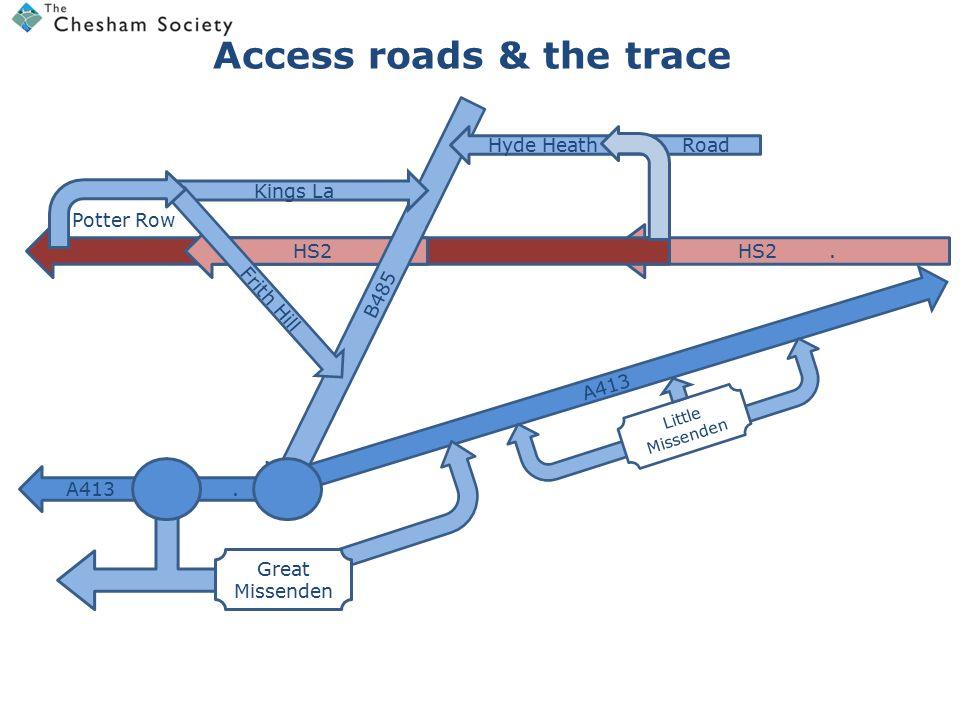 HS2.HS2 TRACEHS2 Key problem points B485 Kings La Frith Hill Potter Row A413 A413.