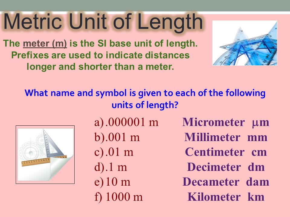 The meter (m) is the SI base unit of length.