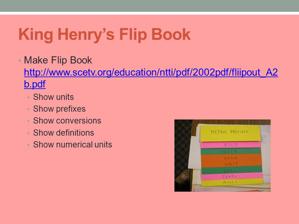 King Henry's Flip Book Make Flip Book http://www.scetv.org/education/ntti/pdf/2002pdf/fliipout_A2 b.pdf http://www.scetv.org/education/ntti/pdf/2002pdf/fliipout_A2 b.pdf Show units Show prefixes Show conversions Show definitions Show numerical units