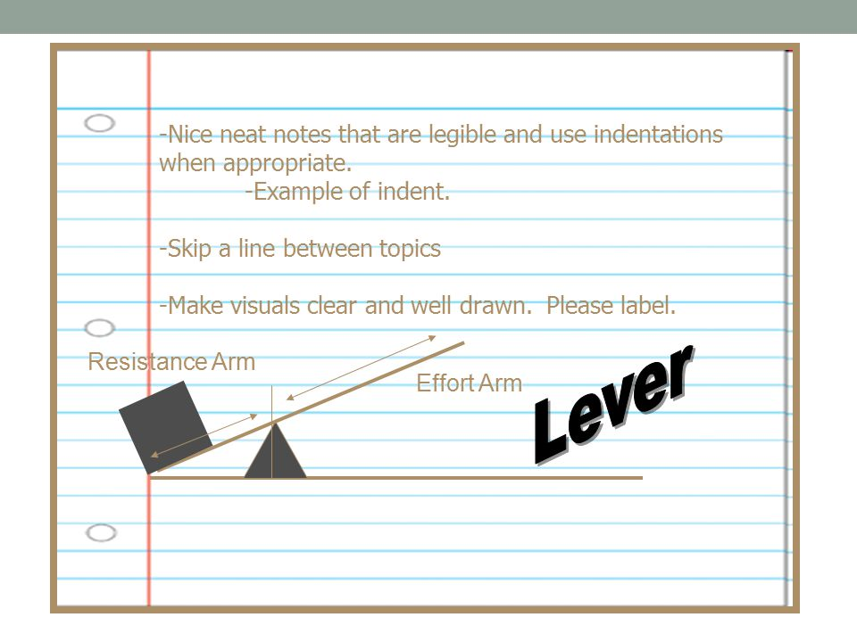 -Nice neat notes that are legible and use indentations when appropriate.