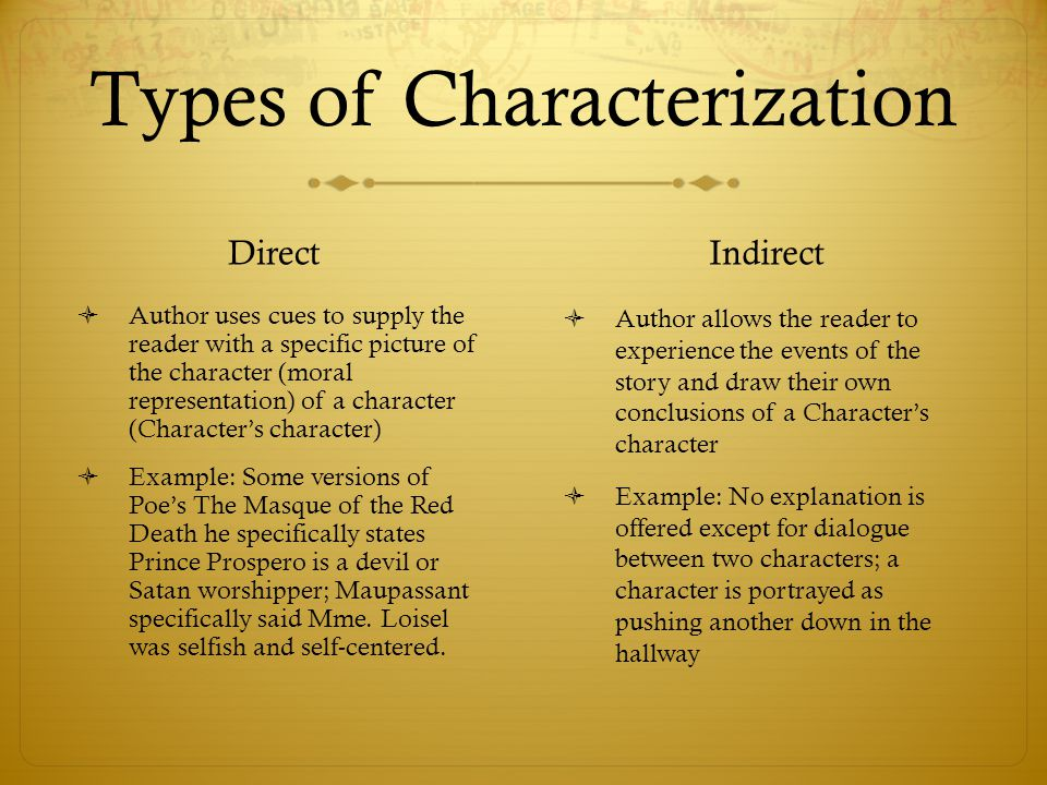 Types of Characterization Direct  Author uses cues to supply the reader with a specific picture of the character (moral representation) of a characte