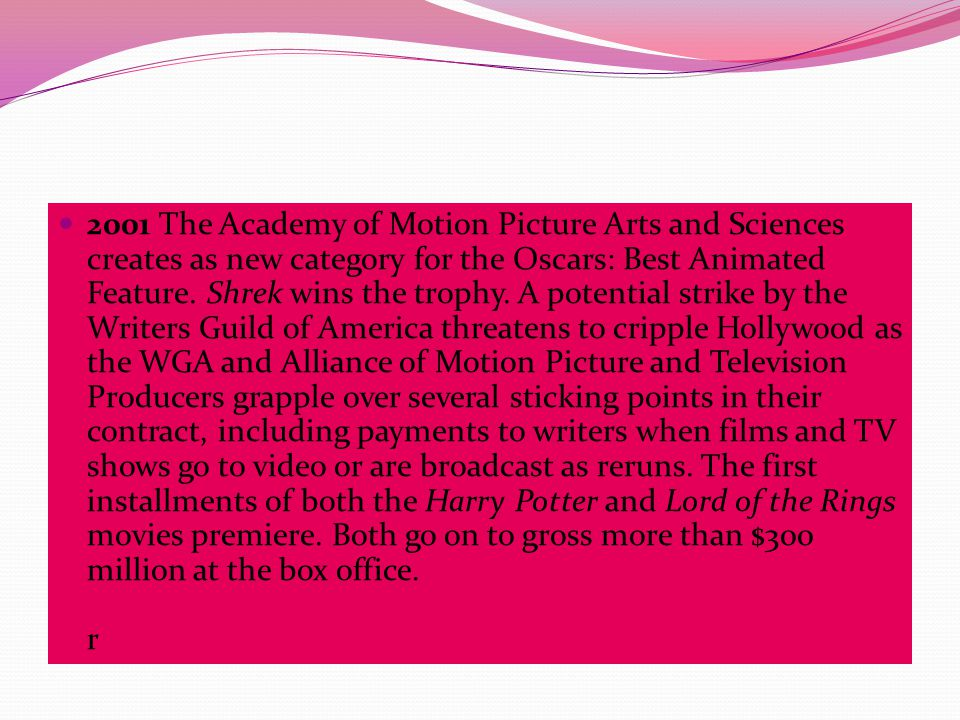 2001 The Academy of Motion Picture Arts and Sciences creates as new category for the Oscars: Best Animated Feature.