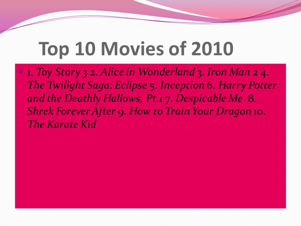 Top 10 Movies of 2010 1. Toy Story 3 2. Alice in Wonderland 3.