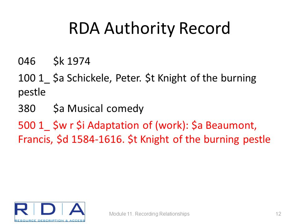 RDA Authority Record 046 $k 1974 100 1_ $a Schickele, Peter.