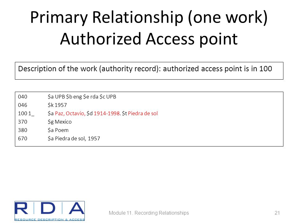 Primary Relationship (one work) Authorized Access point Description of the work (authority record): authorized access point is in 100 040$a UPB $b eng $e rda $c UPB 046$k 1957 100 1_ $a Paz, Octavio, $d 1914-1998.