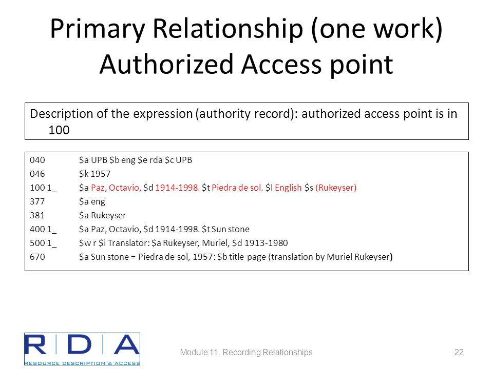 Primary Relationship (one work) Authorized Access point Description of the expression (authority record): authorized access point is in 100 040$a UPB $b eng $e rda $c UPB 046$k 1957 100 1_ $a Paz, Octavio, $d 1914-1998.