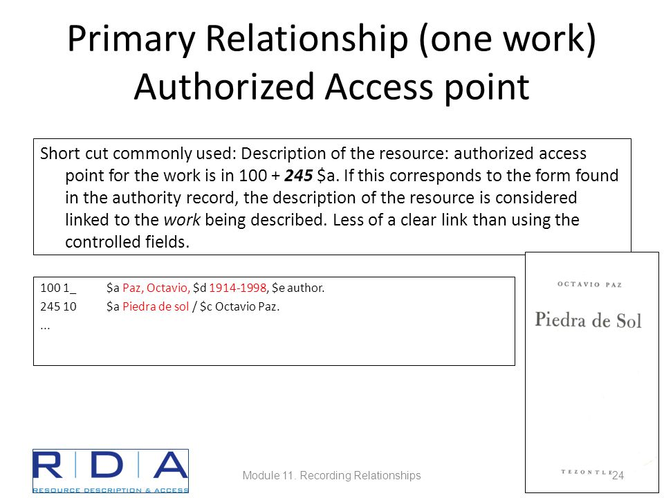 Primary Relationship (one work) Authorized Access point 100 1_$a Paz, Octavio, $d 1914-1998, $e author.