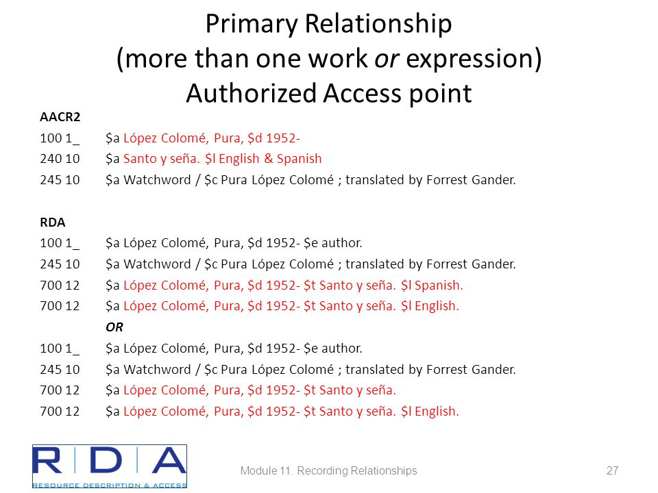 Primary Relationship (more than one work or expression) Authorized Access point AACR2 100 1_$a López Colomé, Pura, $d 1952- 240 10$a Santo y seña.