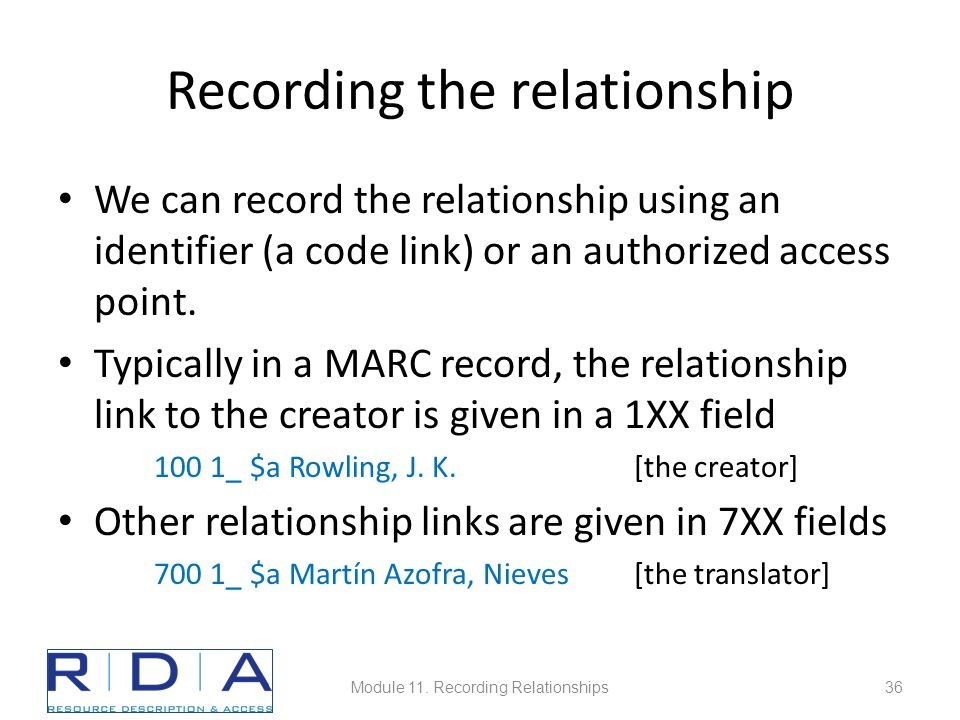 Recording the relationship We can record the relationship using an identifier (a code link) or an authorized access point.