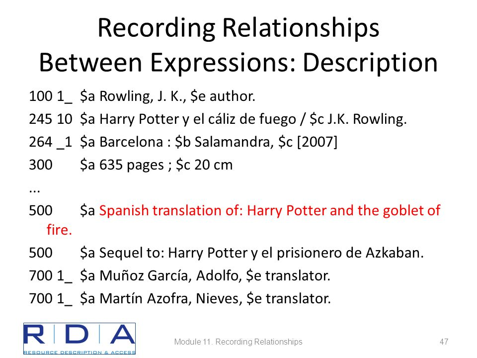 Recording Relationships Between Expressions: Description 100 1_ $a Rowling, J.