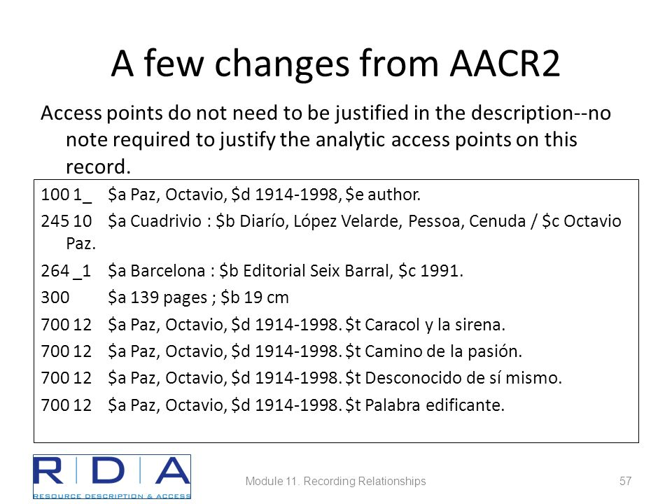 A few changes from AACR2 Access points do not need to be justified in the description--no note required to justify the analytic access points on this record.