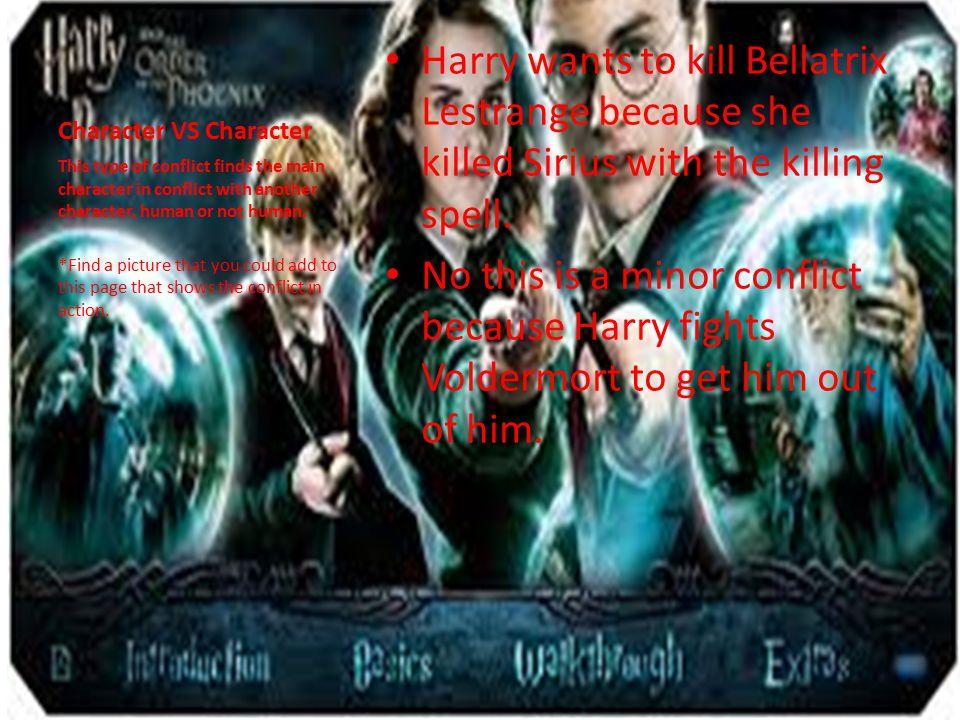 Character VS Character Harry wants to kill Bellatrix Lestrange because she killed Sirius with the killing spell.