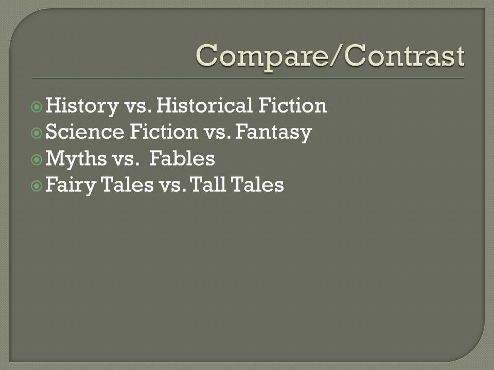  History vs. Historical Fiction  Science Fiction vs.