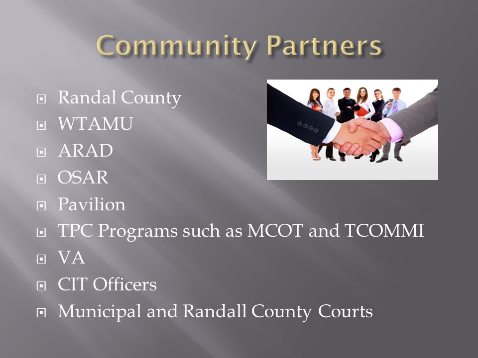  Randal County  WTAMU  ARAD  OSAR  Pavilion  TPC Programs such as MCOT and TCOMMI  VA  CIT Officers  Municipal and Randall County Courts