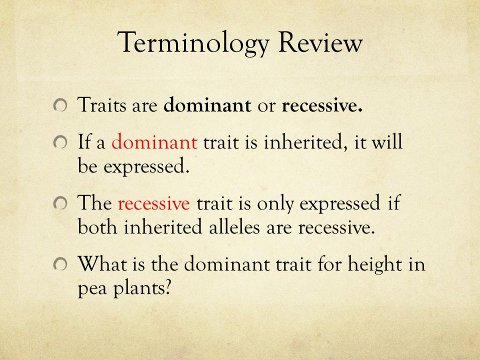 Terminology Review Traits are dominant or recessive. If a dominant trait is inherited, it will be expressed. The recessive trait is only expressed if