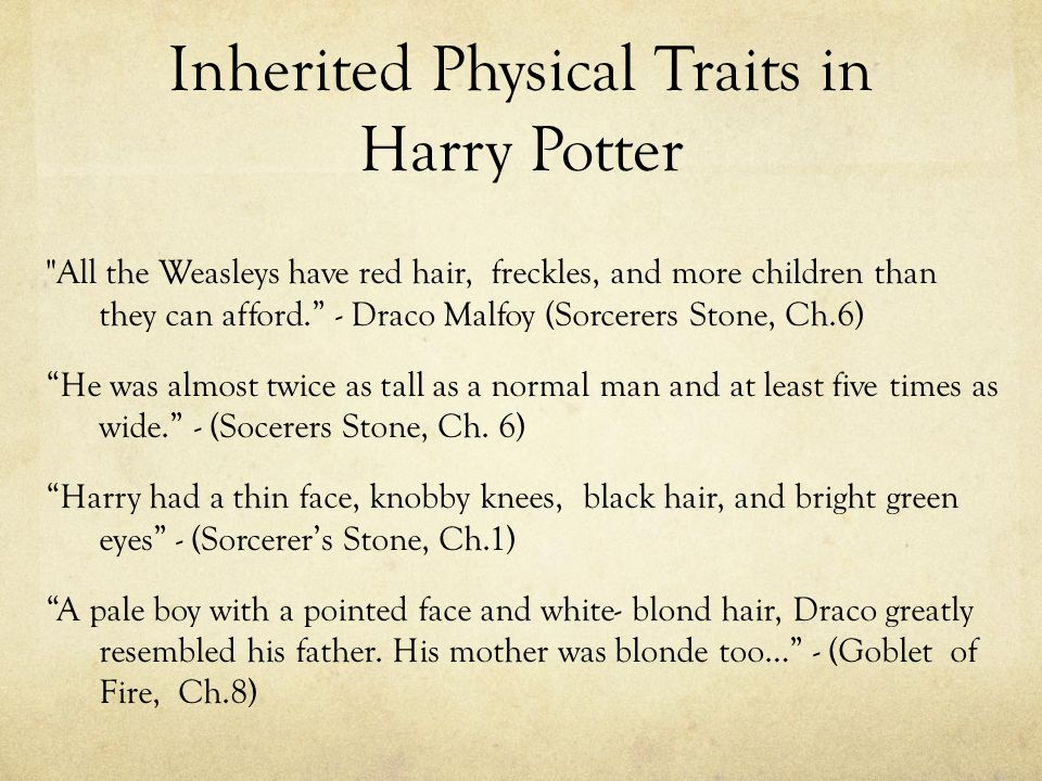 Inherited Physical Traits in Harry Potter