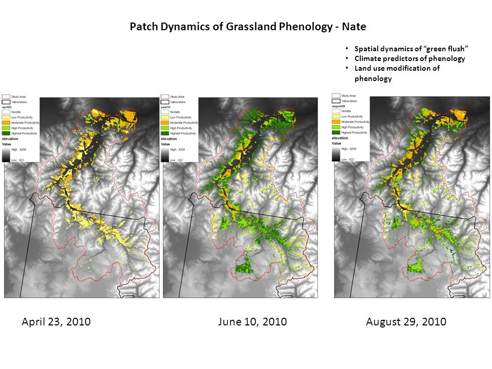 April 23, 2010June 10, 2010August 29, 2010 Patch Dynamics of Grassland Phenology - Nate Spatial dynamics of green flush Climate predictors of phenology Land use modification of phenology