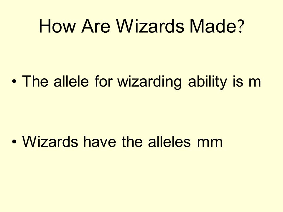 How Are Wizards Made ? The allele for wizarding ability is m Wizards have the alleles mm