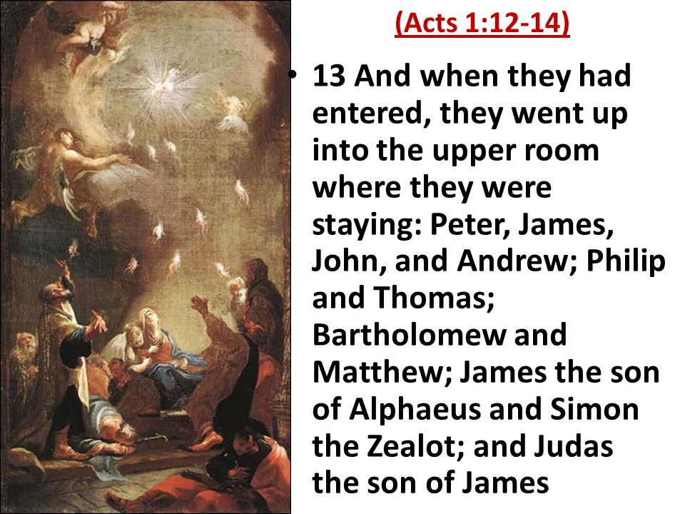 13 And when they had entered, they went up into the upper room where they were staying: Peter, James, John, and Andrew; Philip and Thomas; Bartholomew and Matthew; James the son of Alphaeus and Simon the Zealot; and Judas the son of James (Acts 1:12-14)