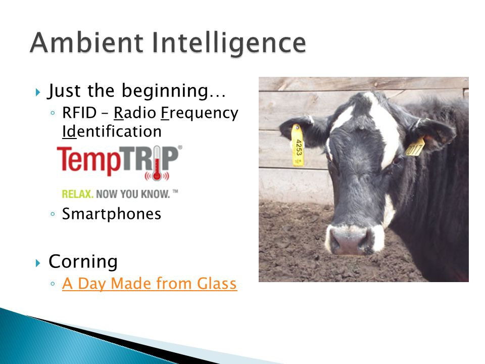  Just the beginning… ◦ RFID – Radio Frequency Identification ◦ Smartphones  Corning ◦ A Day Made from Glass A Day Made from Glass