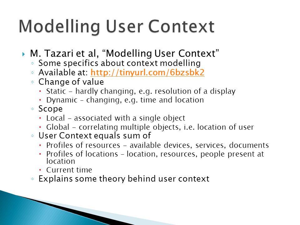 " M. Tazari et al, ""Modelling User Context"" ◦ Some specifics about context modelling ◦ Available at: http://tinyurl.com/6bzsbk2http://tinyurl.com/6bzs"
