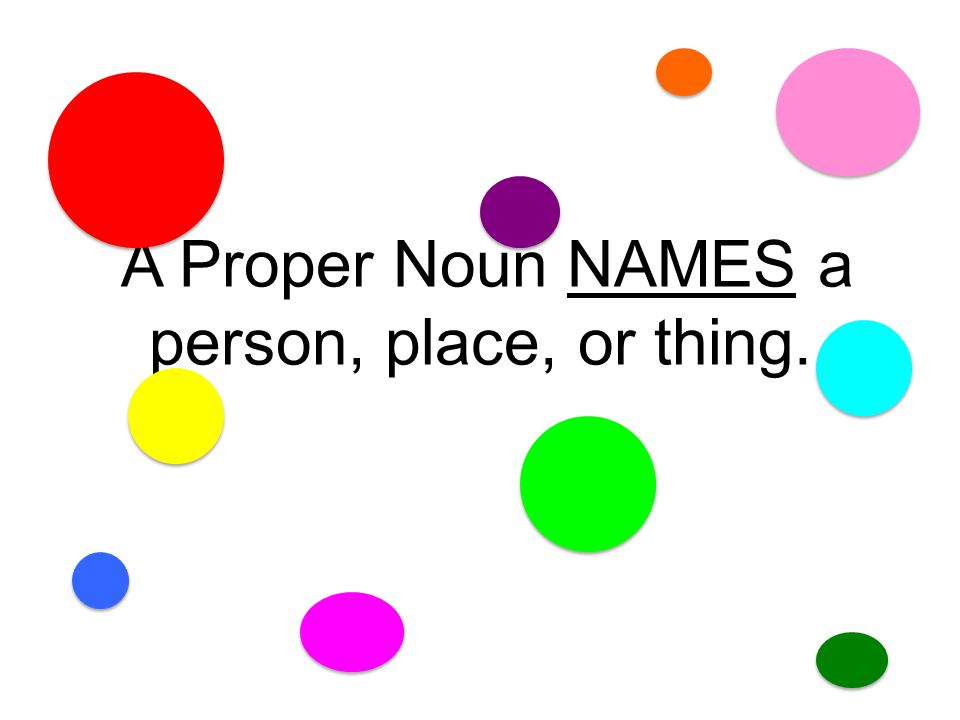 A Proper Noun NAMES a person, place, or thing.